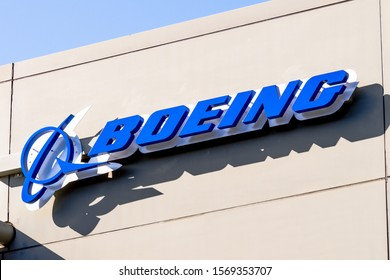 Nov 22, 2019 Menlo Park / CA / USA - Boeing sign at their office building housing the subsidiary Aurora Flight Sciences, which develops special-purpose Unmanned aerial vehicles; Silicon Valley