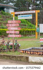 NOV. 22, 2019-BAGUIO CITY PHILIPPINES : Christmas landscaping decoration with wooden raindeers. Parks and outdoors christmas decors