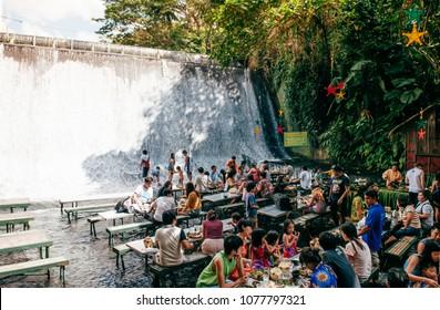 NOV 24, 2012 San Pablo, Philippines : Restaurant in waterfall in villa escudero, San Pablo, Philippines, Tiaong, Qezon