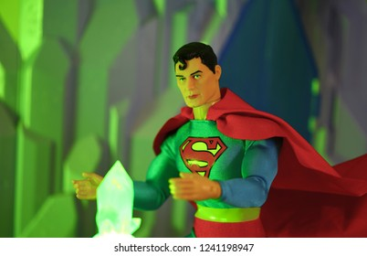 NOV 25 2018: Superman and kryptonite - Mego action figure