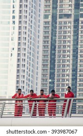 NOV 26 -DUBAI, UAE:  Migrant workers on construction site of high-rise apartment skyscraper tower  on 26th november  2013 in Dubai,UAE.Dubai has approximately 250,000 laborers,