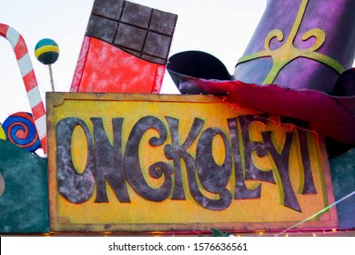 NOV. 28, 2019-BAGUIO CITY PHILIPPINES : Chocolate store with a Willy Wonka and the chocolate factory decoration