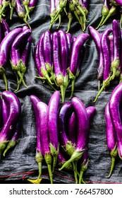 Nov2017, central market, Honiara, Solomon Islands, nice fresh eggplant heaps are arranged for sale in the central market in Honiara
