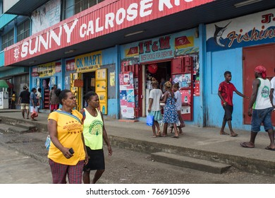 Nov2017, Honiara, Solomon Islands, Honiara's mainstreet has one Chinese shop to the next selling identical wares