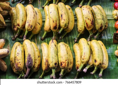 Nov2017,central market, Honiara, Guadalcanal, Solomon Islands, bananas for sale in the market, ripe and sweet, bananas come in a very wide variety of shapes and flavors