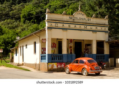 Nova Friburgo, Rio de Janeiro, Brazil, Feb. 12, 2018: The Colonial 61 area was one of the Switzerland inmigrants colonizations points in Nova Friburgo and stil keeps some historic buildings.