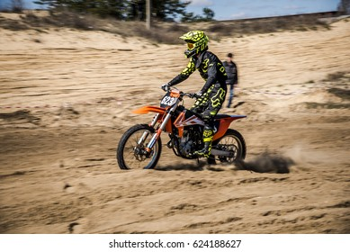 Nova Kakhovka Ukraine, March 25, 2017,unknown rider, zone of the Ukrainian Cup , motocross 1-th stage