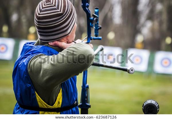 Nova Kakhovka Ukraine,07-12 April 2017. unknown Archer. The championship of Ukraine in archery
