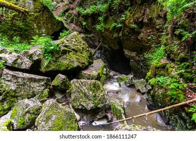 Nova Rasovna sinkhole, or estavelle, near Ostrov u Machochy, Moravian Karst, Czech Republic - Shutterstock ID 1866111247