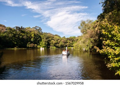 Nova Petrópolis / Rio Grande do Sul / Brazil : 11/16/2019 : lake with pedalboats in the city of Nova Petrópolis