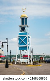 Nova Scotia, Canada -Aug 28th 2018: The Dockyard Clock, which kept time for sailors and dockyard civilian workers from 1772 to 1993 in Halifax.