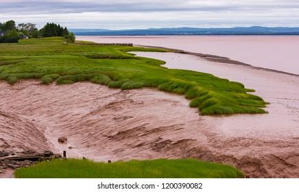 NOVA SCOTIA, CANADA - JULY 21, 2018: Bay of Fundy low tide.