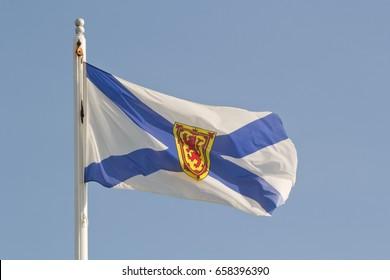 Nova Scotia flag and blue sky