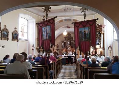 NOVA SENINKA, CZECH REPUBLIC - AUGUST 21, 2021: Twenty-first Concert of Reconciliation in the Church of St. John the Baptist in the small village of Nova Seninka, near Stare Mesto