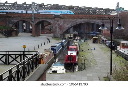 A Nova train on a viaduct near Castlefield Manchester