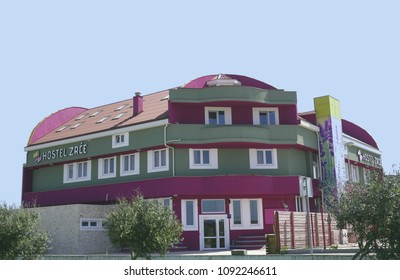 Novalja, Croatia, 25. April 2018. Hostel Zrce, colorful building in Novalja, near beach Zrce in Island of Pag, on a sunny spring day