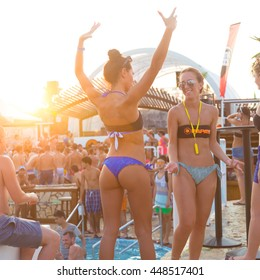 Novalja, Croatia, - July 24, 2015: Crowd of young people partying on a hot summer day on Zrce beach, Novalja, Pag island, Croatia, most popular party destination on Adriatic sea, on July 24, 2015.