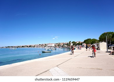 Novalja, Croatia, Jun 23, 2018. Popular tourist place Novalja in Island of Pag, Croatia, near the Zrce beach