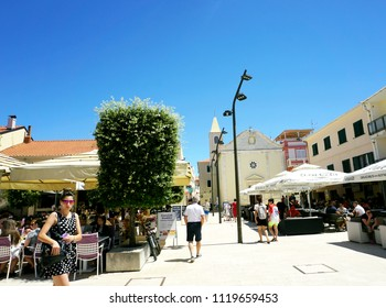 Novalja, Croatia, Jun 23, 2018. Center of the town Novalja, popular touristic place and destination near Zrce beach