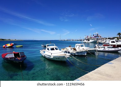 Novalja, Croatia, Jun 23, 2018. Boats in Croatian touristic destination Novalja port in the Adriatic sea