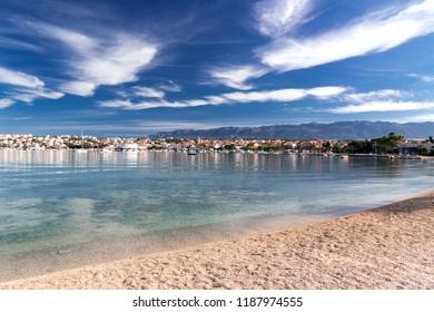 Novalja town summer landscape, Pag island, Croatia