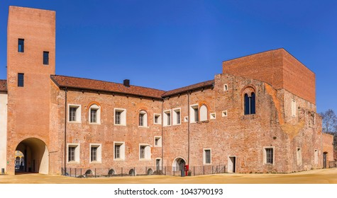 Novara, Piedmont, Italy - March 8, 2018: In the castle courtyard.