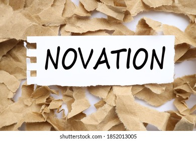 NOVATION, TEXT ON WHITE paper with torn paper background
