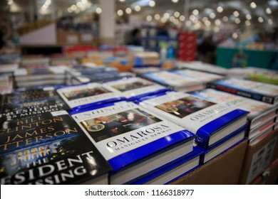 "Novato, California - August 24, 2018: Books for sale including ""Unhinged"" by Omarosa Manigault Newman"