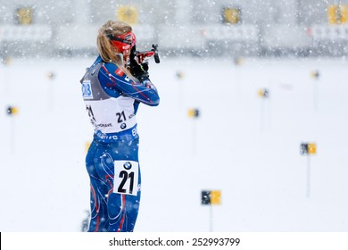 Nove Mesto na Morave, Czech Republic - February 8, 2015. Gabriela Soukalova at shooting range at the Biathlon World Cup Pursuit Women.