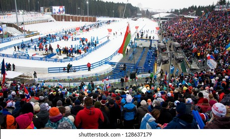NOVE MESTO NA MORAVE - FEBRUARY 17: Spectators in Vysocina Arena before race at IBU World Championship in biathlon 2013 in Nove Mesto na Morave 2013, February 17, Czech republic