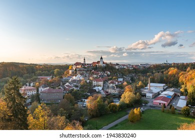 Nove Mesto nad Metuji. Amazing small city in eastern Bohemia. Autumn colorful view from Jurankova lookout at Vyrov ruin castle, Czech Republic - Shutterstock ID 1943830240