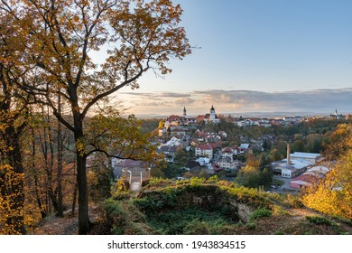 Nove Mesto nad Metuji, amazing small city in eastern Bohemia. Colorful evening view at sunset with trees  from Jurankova lookout at Vyrov ruin castle, Czech Republic - Shutterstock ID 1943834515