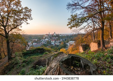 Nove Mesto nad Metuji, amazing small city in eastern Bohemia. Colorful evening view at sunset with trees  from Jurankova lookout at Vyrov ruin castle, Czech Republic - Shutterstock ID 1943838778