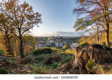 Nove Mesto nad Metuji, amazing small city in eastern Bohemia. Colorful evening view at sunset with trees  from Jurankova lookout at Vyrov ruin castle, Czech Republic - Shutterstock ID 1943838787