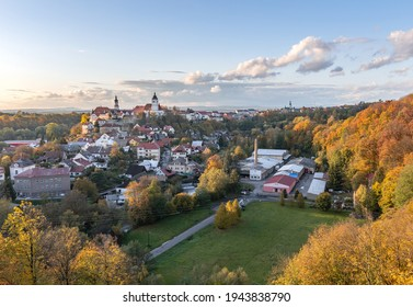 Nove Mesto nad Metuji. Amazing small city in eastern Bohemia. Autumn colorful view from Jurankova lookout at Vyrov ruin castle, Czech Republic - Shutterstock ID 1943838790