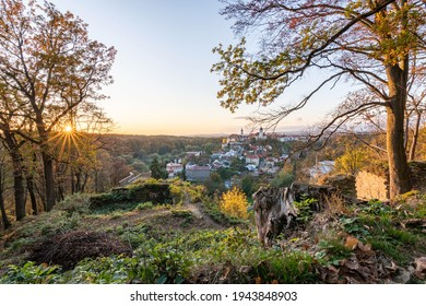 Nove Mesto nad Metuji, amazing small city in eastern Bohemia. View at sunset with colorful trees from Jurankova lookout at Vyrov ruin castle, Czech Republic - Shutterstock ID 1943848903