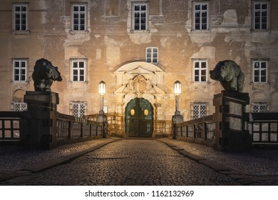 Nove Mesto nad Metuji, Czech Republic - 08/02/2018: Night image of the front gate of the castle