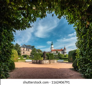 Nove Mesto nad Metuji, Czech Republic - 08/02/2018: View of the castle from the garden