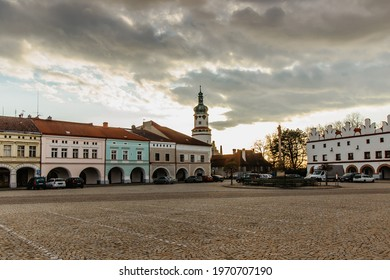Nove Mesto nad Metuji, Czech republic. Historical centre of the town with charming Hus Square,colorful houses with arcade and famous Castle.Pearl of east Bohemia.Czech tourist attraction. - Shutterstock ID 1970707190