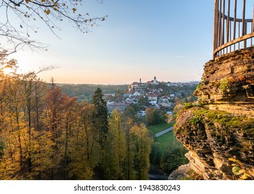 Nove Mesto nad Metuji, view at city with Jurankova lookout on ruin castle Vyrov, Czech Republic - Shutterstock ID 1943830243