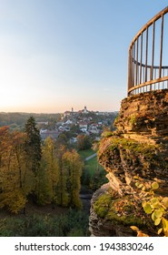 Nove Mesto nad Metuji, view at city with Jurankova lookout on ruin castle Vyrov, Czech Republic - Shutterstock ID 1943830246