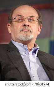 NOVELLO, ITALY - MAY 29: Writer Salman Rushdie speaks at Collisioni 2011 on May 29, 2011 Novello, Italy.