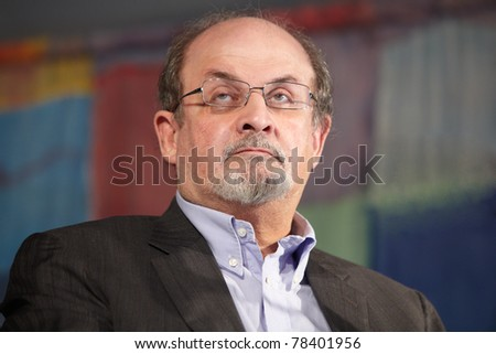 NOVELLO, ITALY - MAY 29: Writer Salman Rushdie speaks at Collisioni 2011 on May 29, 2011 Novello, Italy.