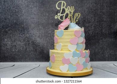 Novelty homemade gender reveal Celebration cake