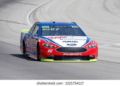 November 02, 2018 - Ft. Worth, Texas, USA: Joey Logano (22) races off turn four to practice for the AAA Texas 500 at Texas Motor Speedway in Ft. Worth, Texas.