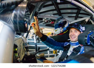 November 03, 2018 - Ft. Worth, Texas, USA: Kyle Larson (42) hangs out in the garage during practice for the AAA Texas 500 at Texas Motor Speedway in Ft. Worth, Texas.