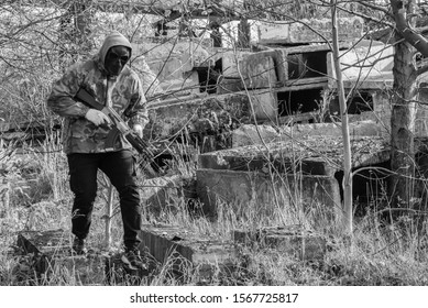 November 03, 2019, Ukraine Lviv city, airsoft, preparation for play and play at an abandoned factory, equipment, masks, weapons