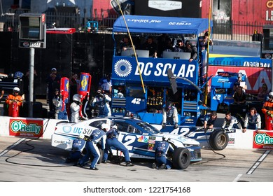 November 04, 2018 - Ft. Worth, Texas, USA: Kyle Larson (42) comes down pit road for service during the AAA Texas 500 at Texas Motor Speedway in Ft. Worth, Texas.
