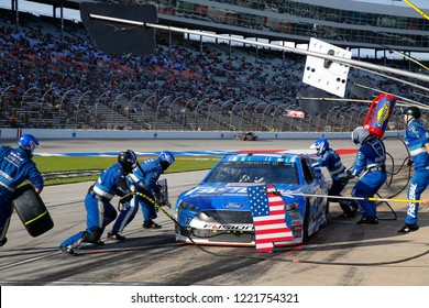 November 04, 2018 - Ft. Worth, Texas, USA: Ricky Stenhouse, Jr (17) brings his car down pit road for service during the AAA Texas 500 at Texas Motor Speedway in Ft. Worth, Texas.