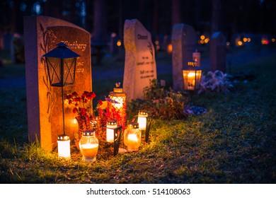 November 05, 2016: A grave on All Saints Day in Skogskyrkogarden graveyard in Stockholm, Sweden